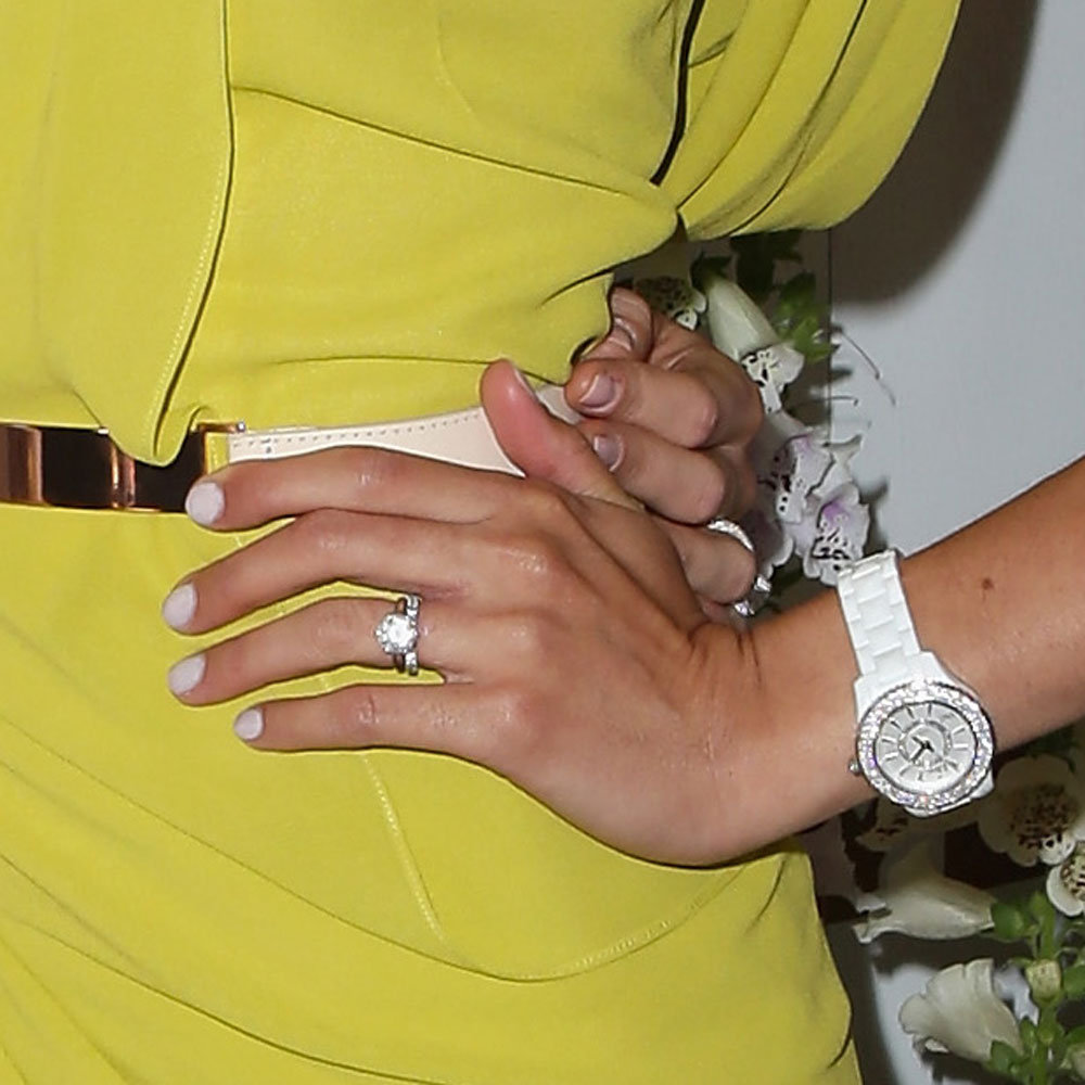 Rebecca went for white nails, another nod to the minimalist beauty look for Spring.