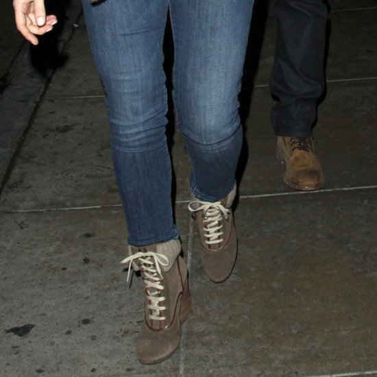 Minka Kelly Wearing Lace-Up Boots
