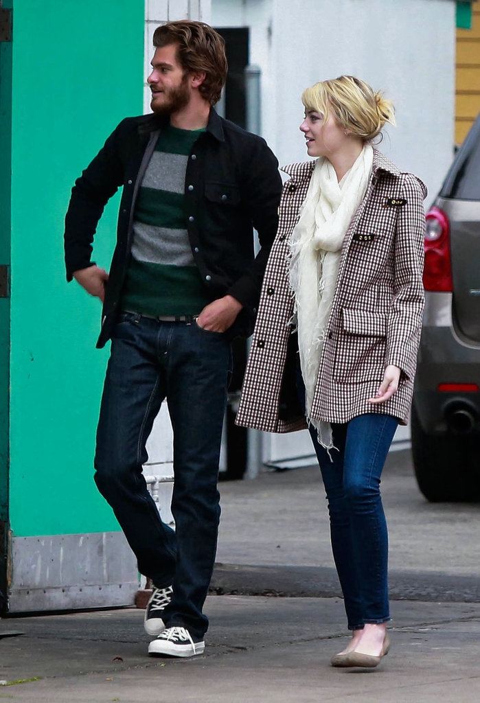 Emma Stone wore a checked coat to have lunch with Andrew Garfield.