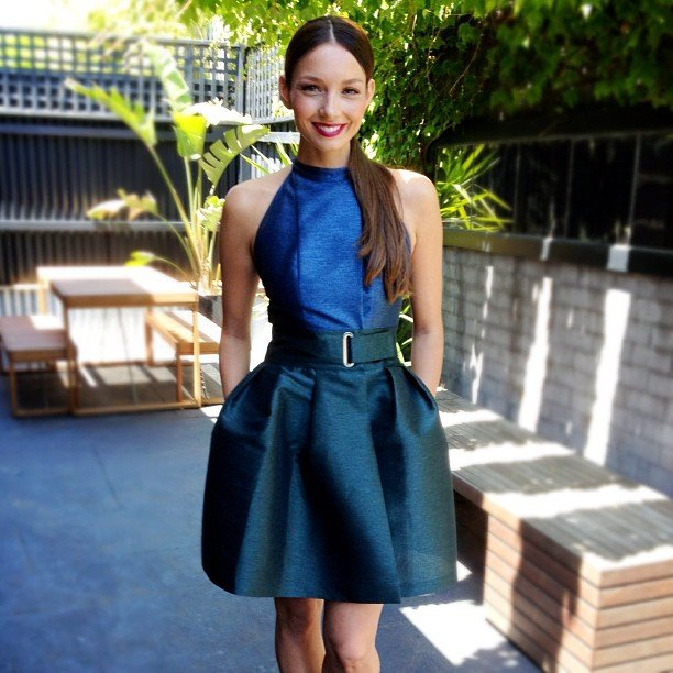 Ricki-Lee looked gorgeous in Kenzo at Crown Oaks Day. Source: Instagram user therickilee