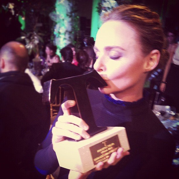 Stella McCartney fell in love with her Fiesta T Moda award for best international designer. Source: Instagram user stella_mccartney