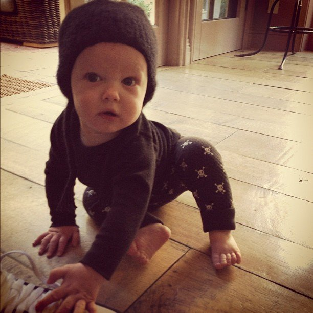Hilary Duff's little guy, Luca Comrie, was on the move. Source: Instagram user hilaryduff
