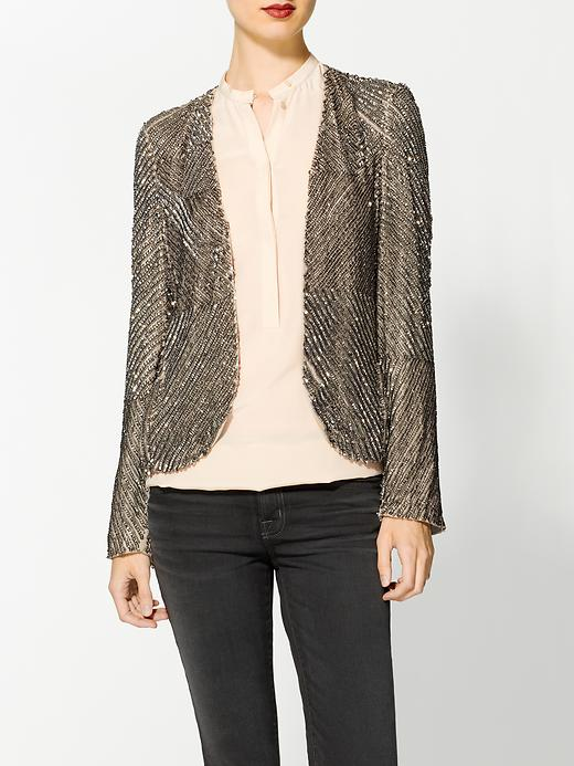 For less in-your-face sparkle, this Parker Silk Sequin Jacket ($352) has more understated gunmetal shine.