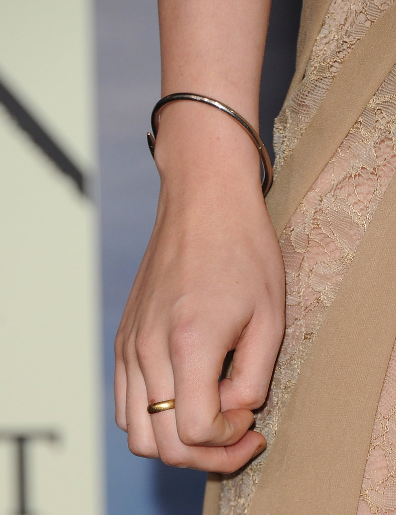 Fact: Kristen hasn't parted ways with her favorite Cartier Juste un Clou bracelet at any of her Breaking Dawn Part 2 promo stops. It's her go-to silver statement piece.