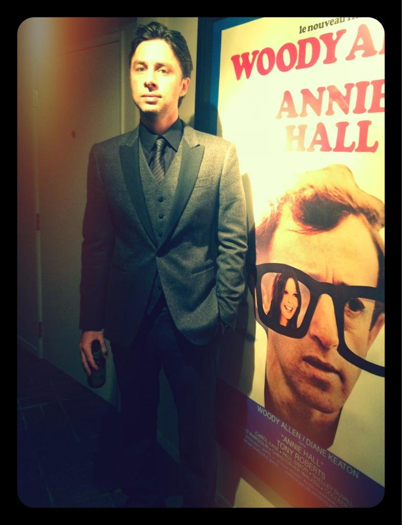 Zach Braff suited up for a night out. Source: Twitter user zachbraff