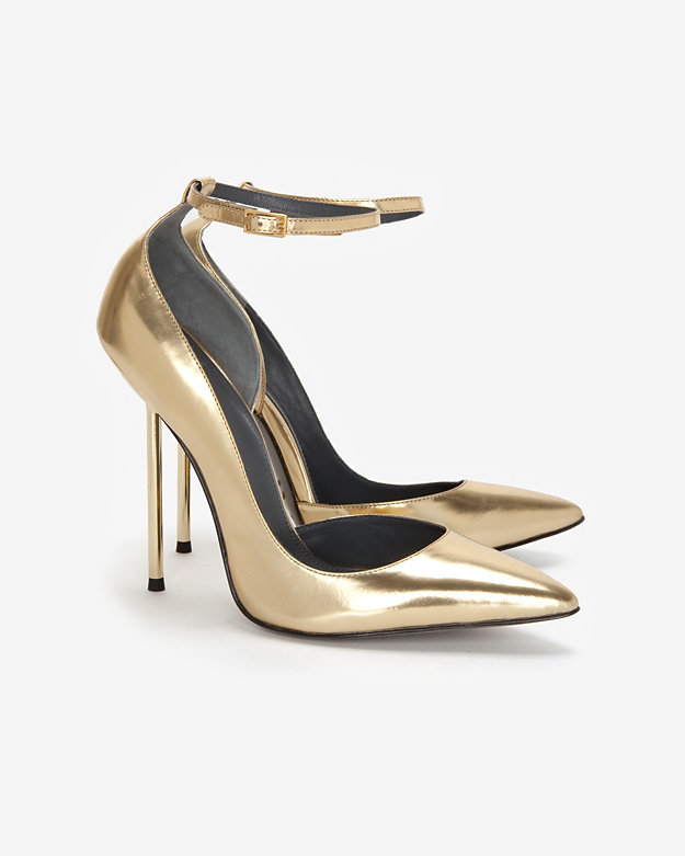 For a classic shape — and a killer metallic finish — these Monika Chiang Metal Heel Mirrored Pointed-Toe Pumps ($385) are it.