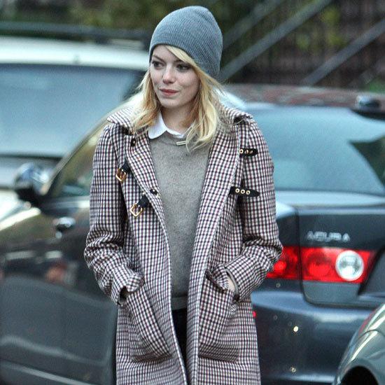 Emma Stone Wearing Plaid Coat