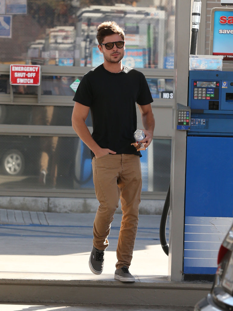 Zac Efron left a gas station.