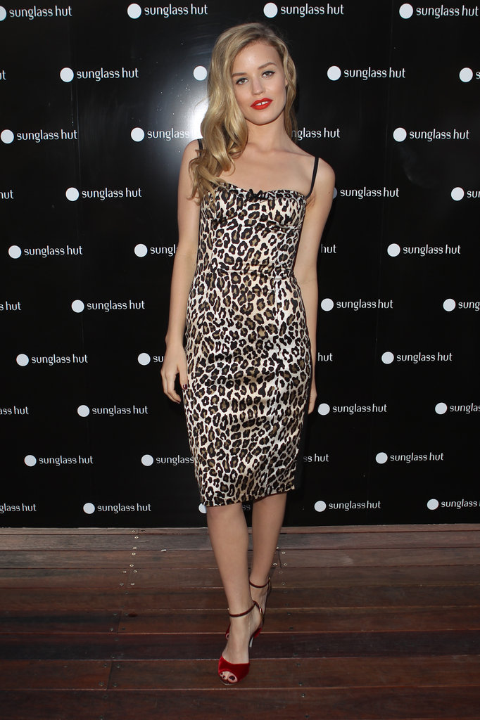 Georgia May Jagger hit Sydney in a stunning leopard-print dress as she promoted the launch of Sunglass Hut's Floating Island on November 15.