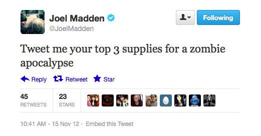 Joel Madden's getting prepared.