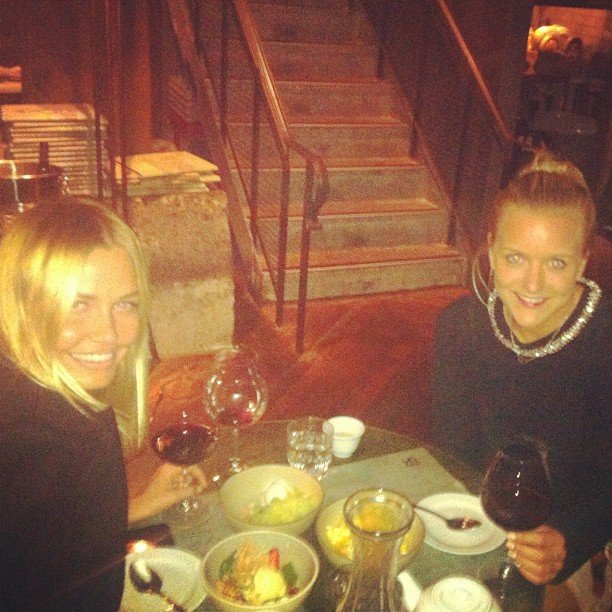 Hermione Underwood and good friend Lara Bingle caught up over dinner. Source: Instagram user hermioneolivia