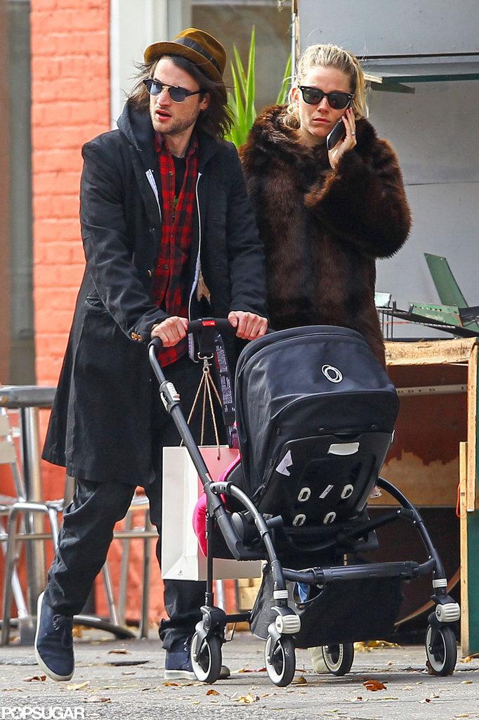 Sienna Miller and Tom Sturridge walked in NYC's West Village.