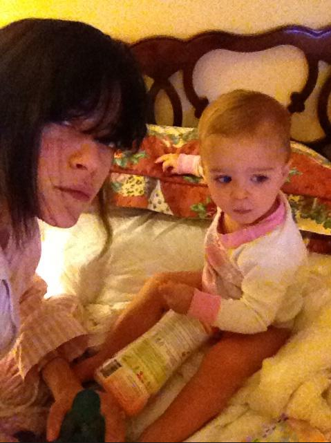 Selma Blair and lil Arthur spent the holiday in a hotel room, but didn't seem to mind! Source: Twitter user SelmaBlair