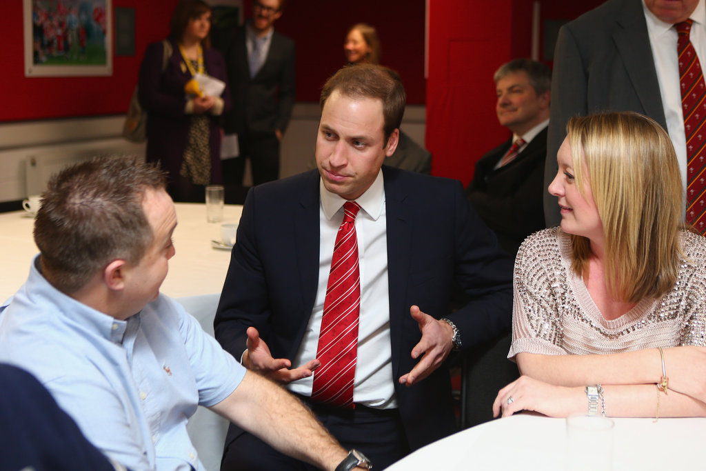 Prince William looked to be having some lengthy chats with guests.