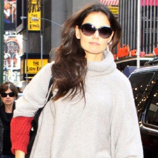 Katie Holmes Wearing Gray Poncho