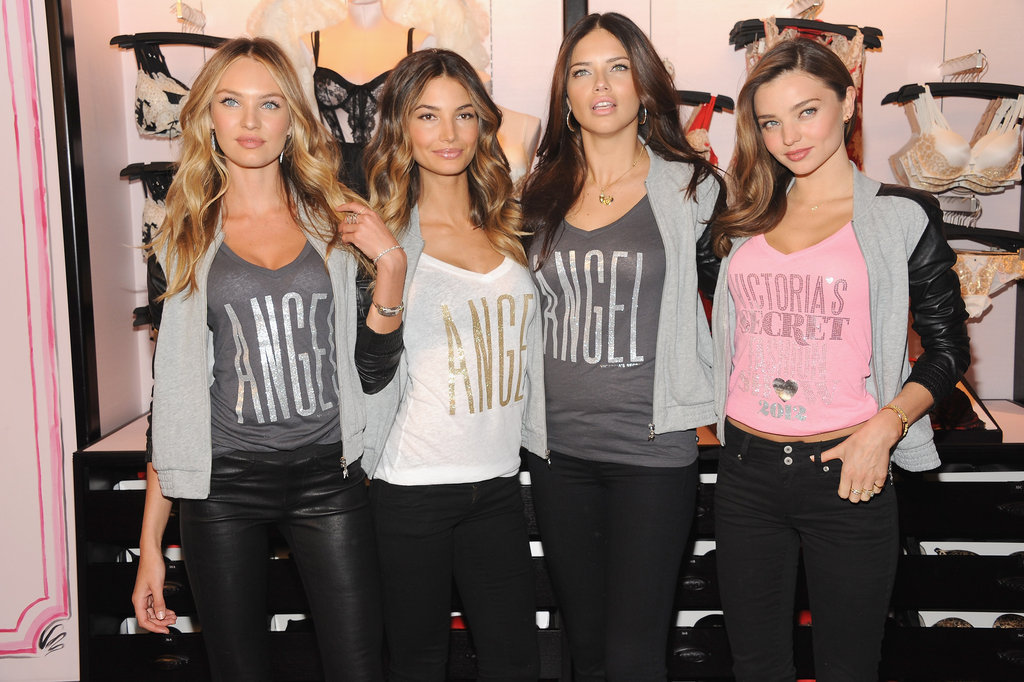Miranda Kerr, Lily Aldridge, Adriana Lima, and Candice Swanepoel were reunited at Victoria's Secret Herald Square in NYC.