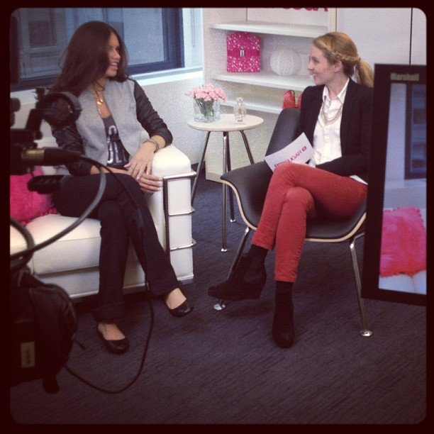 Adriana Lima dropped by the PopSugar offices in NYC for an in-studio chat with Allie Merriam.  Source: Instagram user alliemerriam