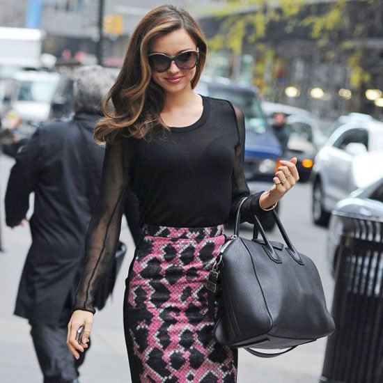 Miranda Kerr Wearing Printed Pencil Skirt