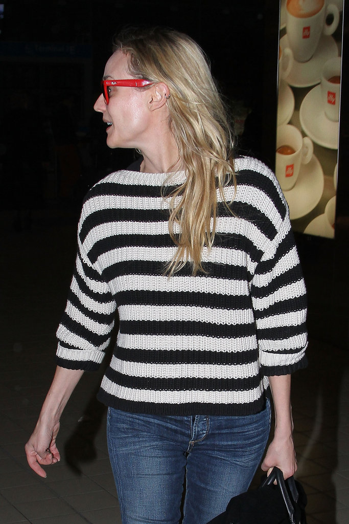Diane Kruger sported a striped sweater while traveling.