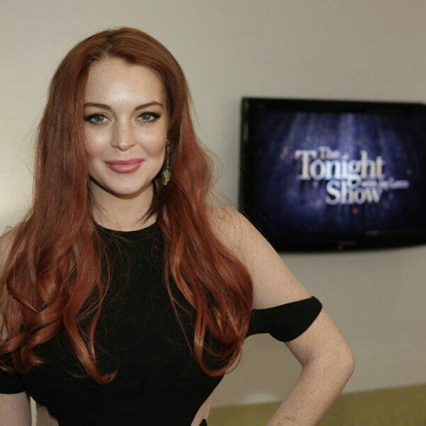 Lindsay Lohan popped by The Tonight Show in LA. Source: Instagram user tonightshow