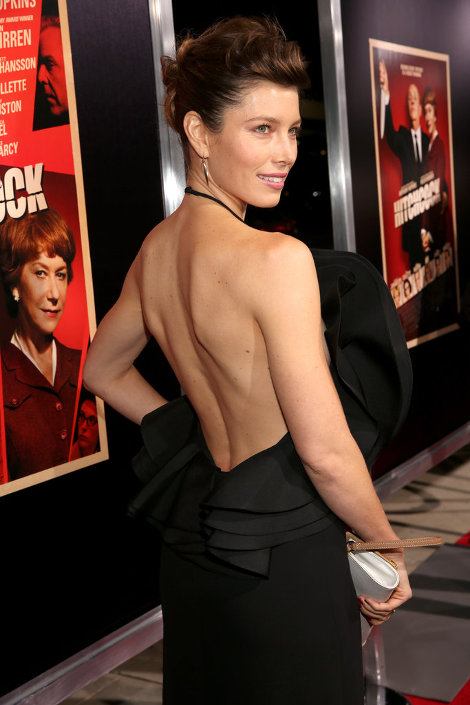 Jessica Biel showed off her back in a Gucci dress.