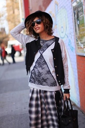 A cool mix of textures and trends takes this plaid skirt to a much cooler place. Source: Lookbook.nu