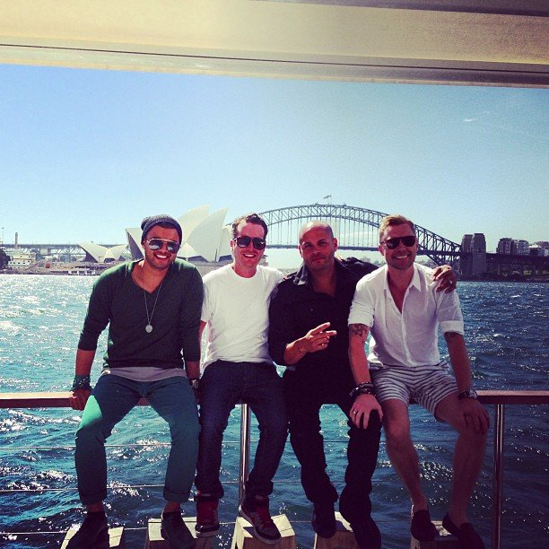 Guy Sebastian and Ronan Keating chilled out on The Island in Sydney with some friends, including Mel B's husband Stephan Belafonte. Source: Instagram user guysebastian