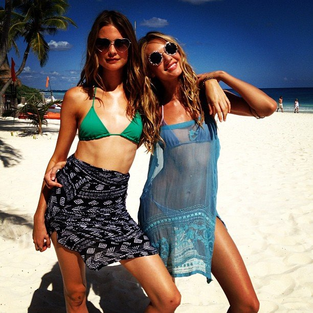 Behati Prinsloo and Candice Swanepoel hung out and looked beautiful on the beach together. Source: Instagram user angelcandices