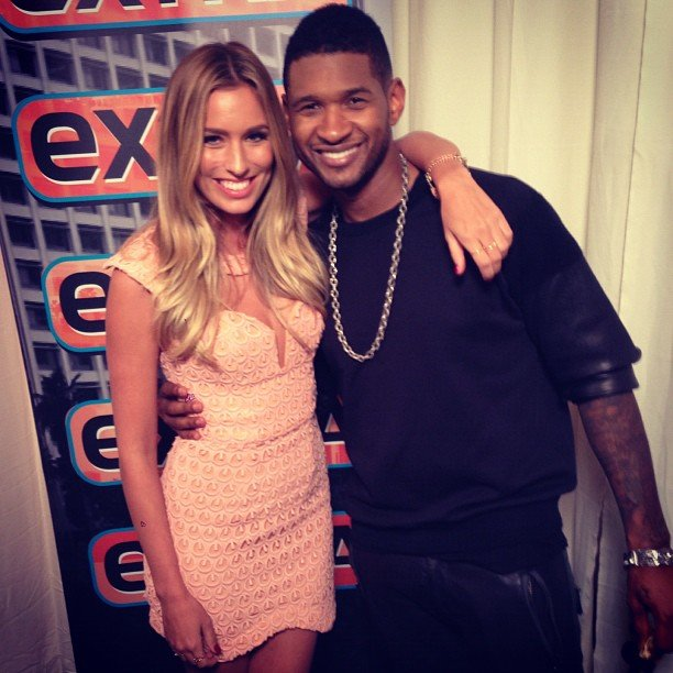 Aussie TV presenter Renee Bargh hung backstage with Usher at the American Music Awards. Source: Instagram user reneebargh