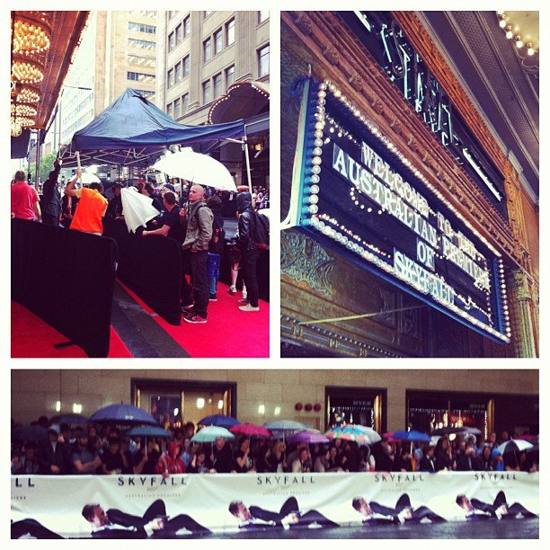 Atmosphere shots from the packed (and rainy!) Skyfall premiere in Sydney.