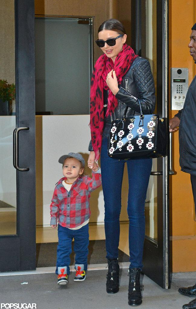 Miranda Kerr had Flynn Bloom at her side in NYC.