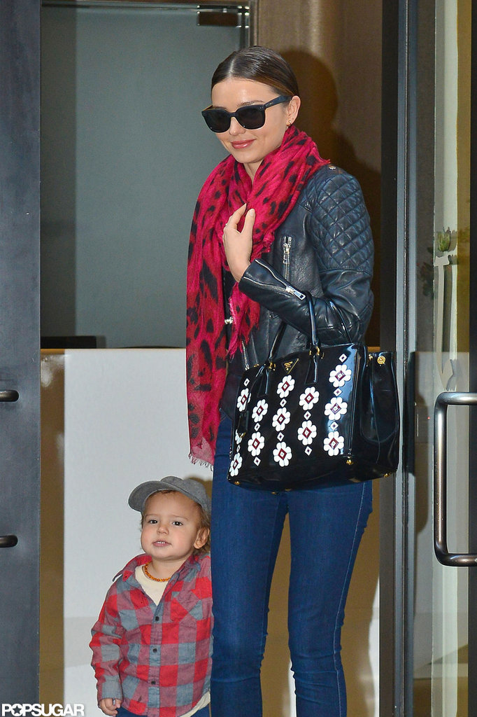 Miranda Kerr sported skinny jeans and a leather jacket in NYC.