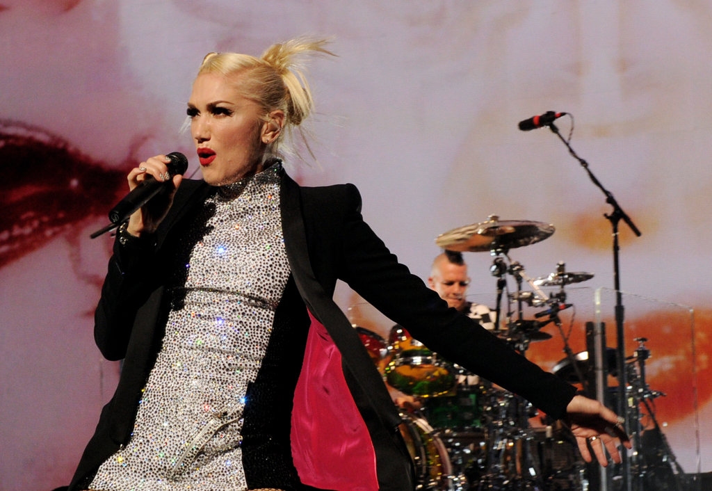 Gwen Stefani donned a sequined minidress and blazer during the show.