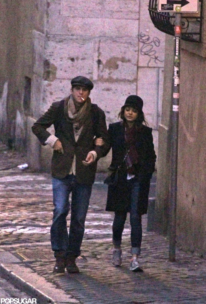 Mila and Ashton Sneak In a Romantic Rome Stroll Before He Heads Out