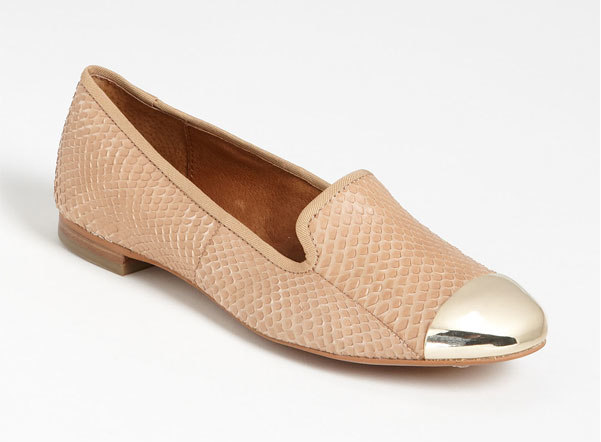 The nude python print of these Sam Edelman Aster cap toe flats ($150) with its metallic cap toe adds the perfect amount of subtle shine to a festive ensemble.