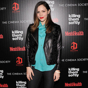 Katharine McPhee Wearing Leather and Fur Jacket