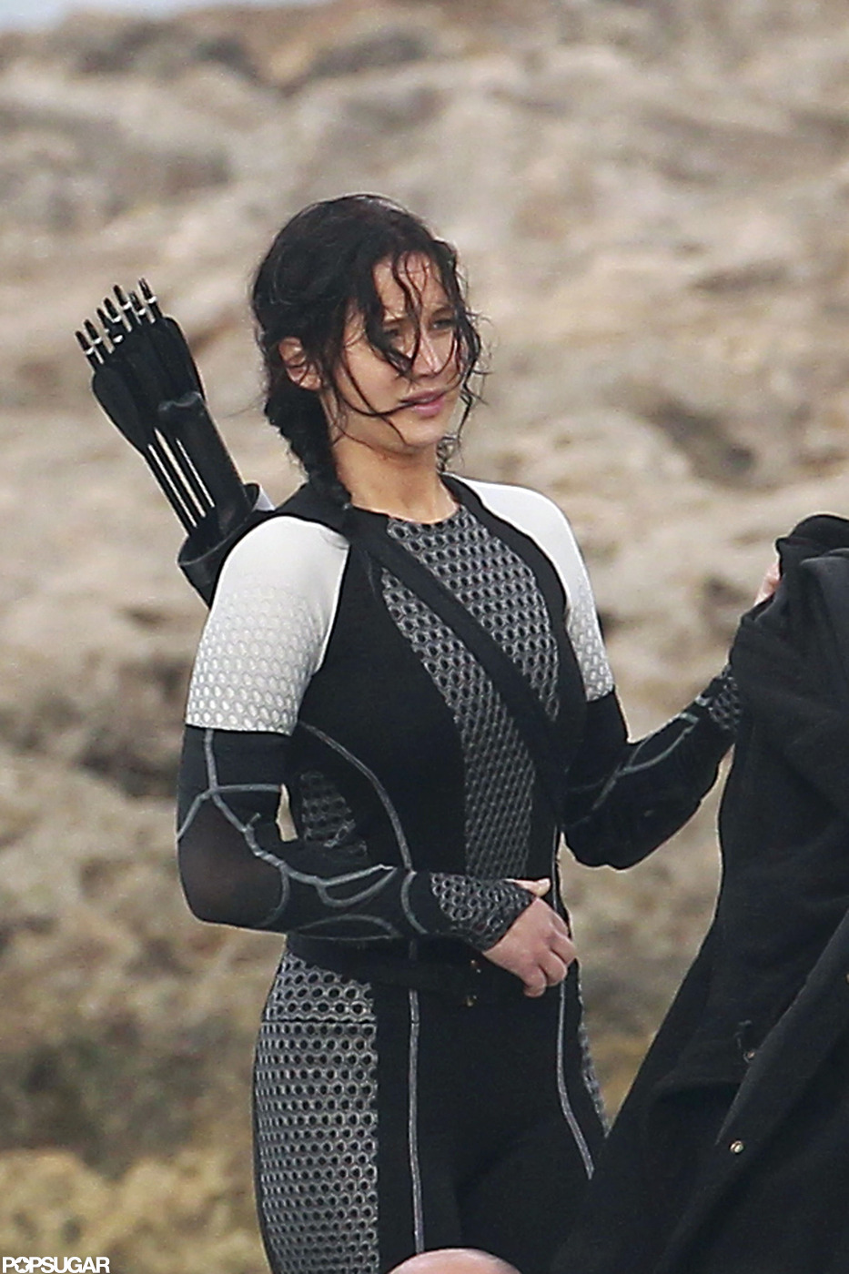 Jennifer Lawrence had a bow and arrow on her back to film ...