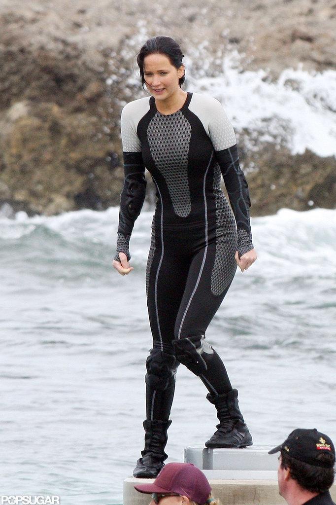 Jennifer Lawrence filmed for Catching Fire in the ocean.