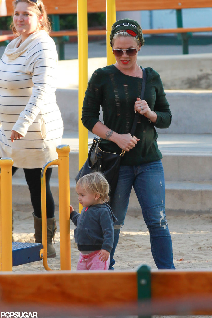 Willow Hart explored the playground with her mom, Pink.