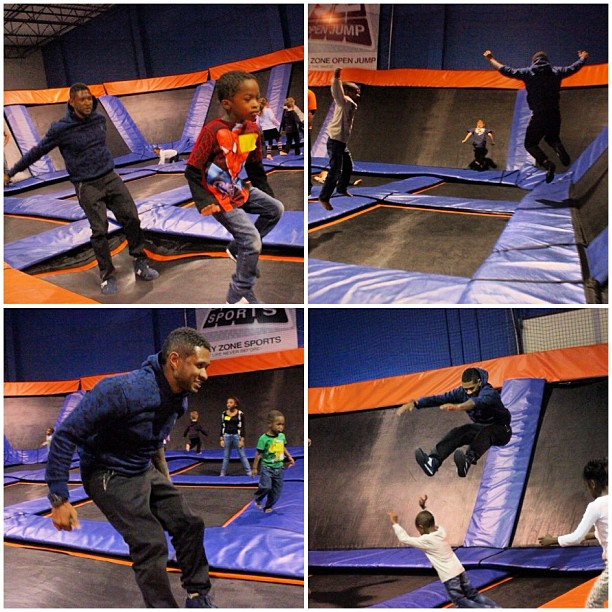 Usher jumped on a trampoline during son Usher V's fifth birthday party. Source: Instagram user howuseeit