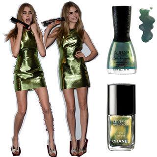 Metallic Green Nail Polish Like the Cara's Burberry Dress