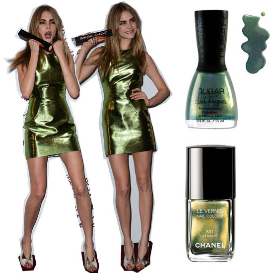 Nail the Look: Cara Delevingne's Metallic Green Burberry Shift