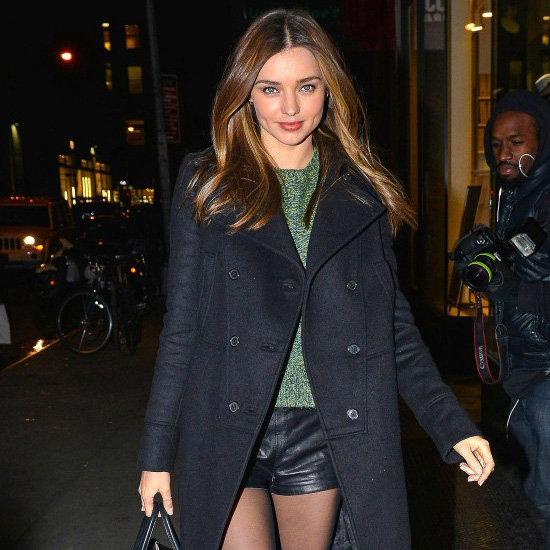 Miranda Kerr Wearing Black Leather Shorts