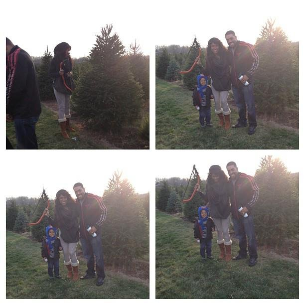 Jennifer Hudson and her boys cut down their own Christmas tree.  Source: Facebook user Jennifer Hudson