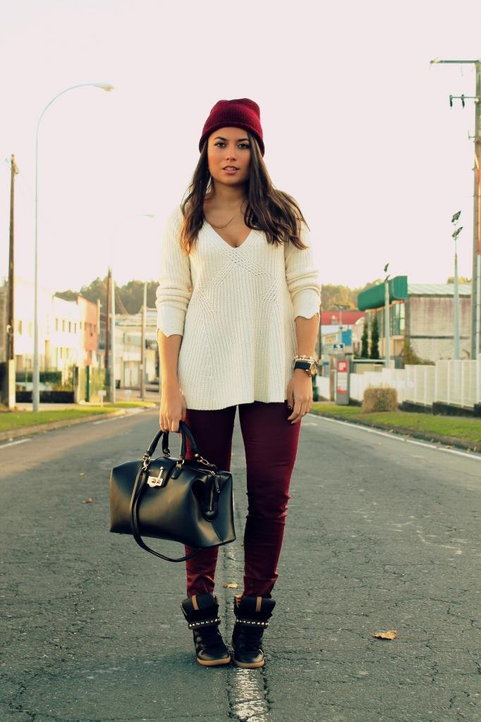 Play up a basic knit and skinnies with bold Fall hues and sporty high-tops. Source: Lookbook.nu
