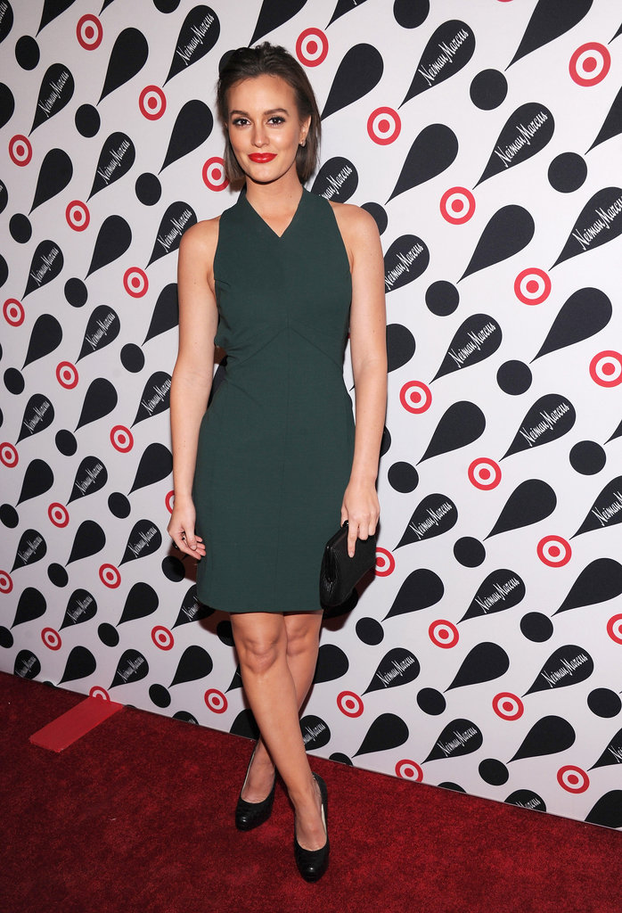 Leighton Meester stepped out in an emerald-hued sheath – and debuted newly cropped locks.