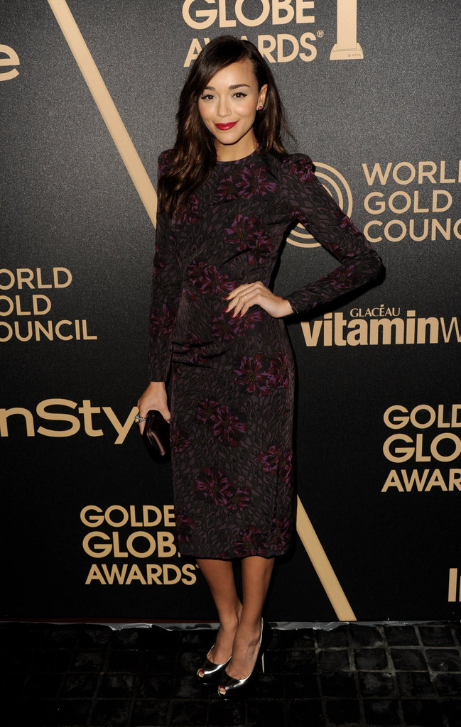 Ashley Madekwe went the sophisticated route in a subtly printed sheath in perfect Winter hues.