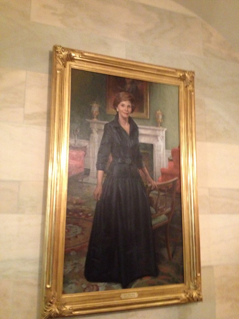 The newest first lady portrait, one of Laura Bush, has been recently hung near the library.