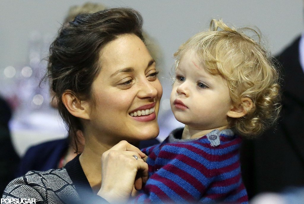 Marion Cotillard smiled at her son, Marcel Canet, while watching the Masters in Paris.
