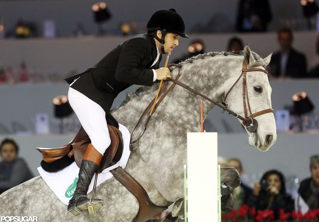 Guillaume Canet showed off his jumping skills on a horse in Paris.